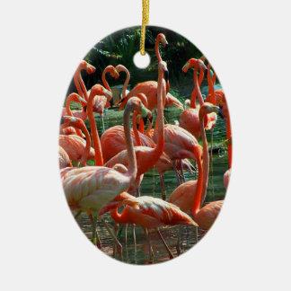 ¡Grupo rosado del flamenco, porciones de imagen de Ornamentos De Navidad