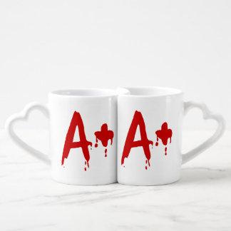 Grupo sanguíneo A+ Hospital positivo del #Horror Taza Para Parejas