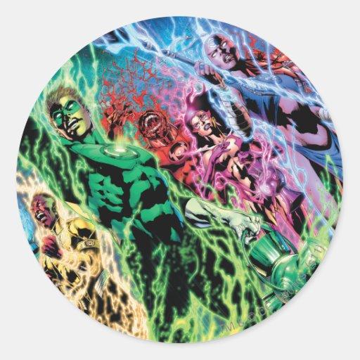 Grupo verde de la linterna - color pegatina redonda