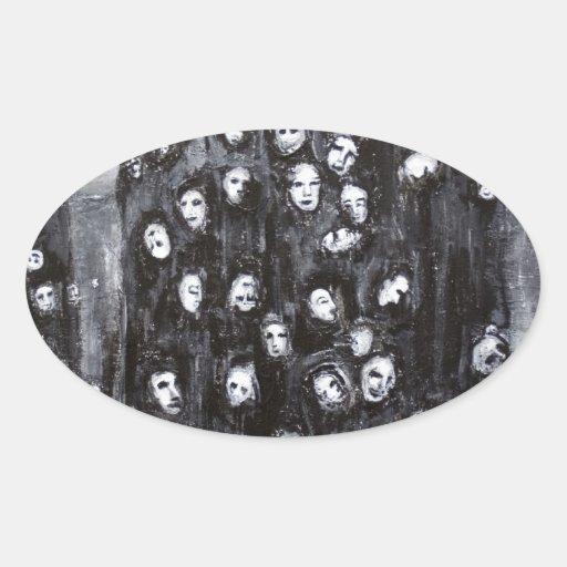 Grupos del alma (surrealismo blanco y negro) pegatina ovalada