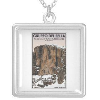 Gruppo Del Sella - Piz da Lec de Boe (CU) Square Pendant Necklace