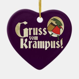 Gruss Vom Krampus Double-Sided Heart Ceramic Christmas Ornament