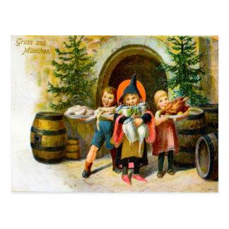 Gruss von Munchen, Alemania, navidad 1907 Postales
