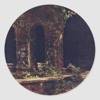Gruta en los jardines del chalet D'Este cerca de Pegatinas Redondas