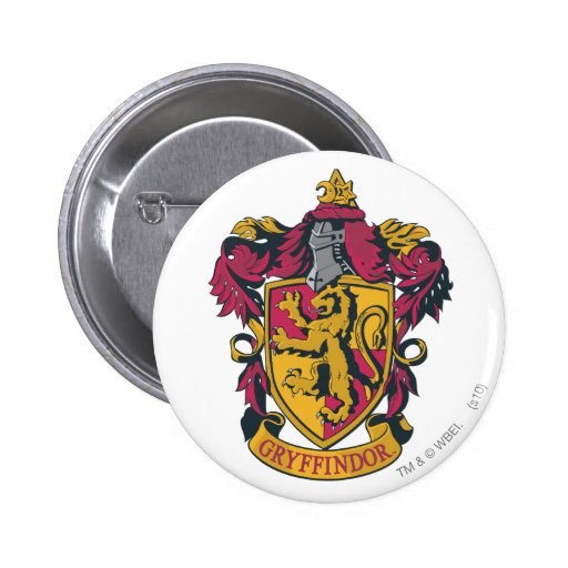 Gryffindor crest red and gold pinback buttons