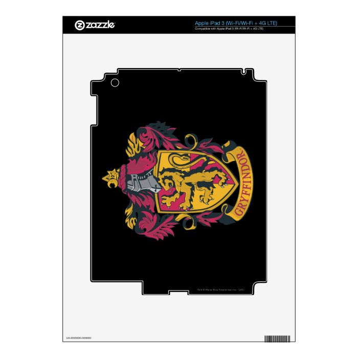 Gryffindor crest red and gold iPad 3 skin