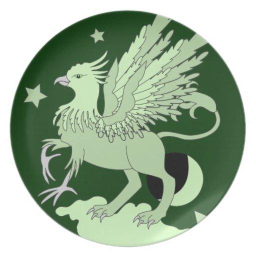 Gryphon Art Green Plates