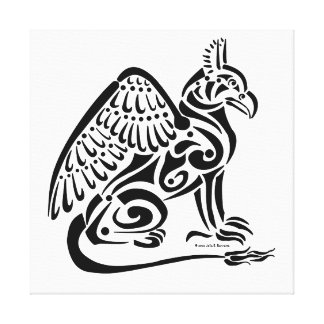 Gryphon (black) Stretched Canvas Print