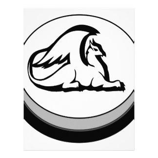 Gryphon Button Design Novel Logo Letterhead