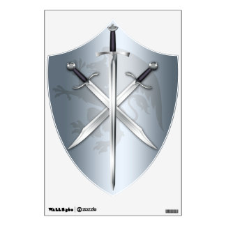 Gryphon Cross Swords Silver Crest Wall Decal