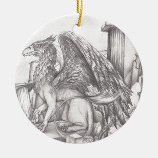 gryphon.jpg adorno navideño redondo de cerámica