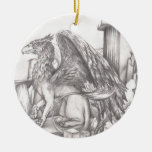 gryphon.jpg Double-Sided ceramic round christmas ornament