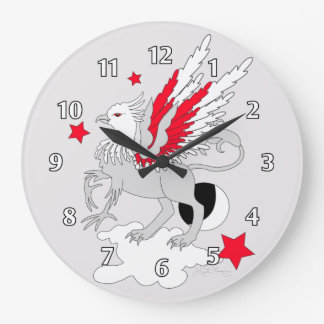 Gryphon or Griffin Red Large Clock