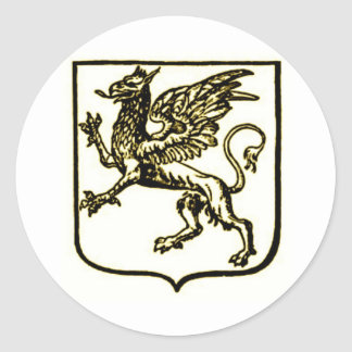 GRYPHON SHIELD IN SEPIA TONE VINTAGE PRINT CLASSIC ROUND STICKER