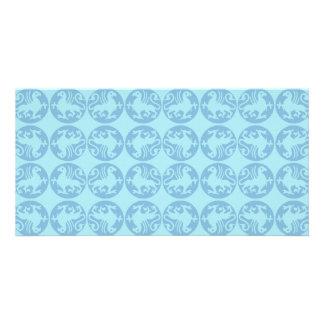 Gryphon Silhouette Pattern - Light Blue Photo Card