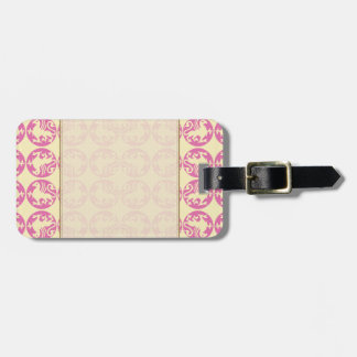 Gryphon Silhouette Pattern - Pink and Pale Yellow Bag Tag