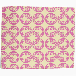 Gryphon Silhouette Pattern - Pink and Pale Yellow Binder