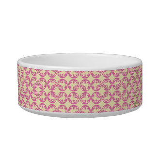 Gryphon Silhouette Pattern - Pink and Pale Yellow Bowl