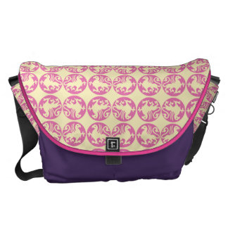Gryphon Silhouette Pattern - Pink and Pale Yellow Courier Bag