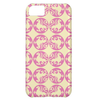Gryphon Silhouette Pattern - Pink and Pale Yellow iPhone 5C Cover