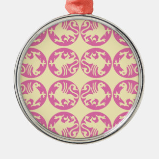 Gryphon Silhouette Pattern - Pink and Pale Yellow Metal Ornament
