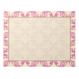 Gryphon Silhouette Pattern - Pink and Pale Yellow Notepad