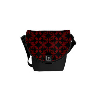 Gryphon Silhouette Pattern - Red and Black Courier Bag