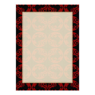 Gryphon Silhouette Pattern - Red and Black Personalized Invites
