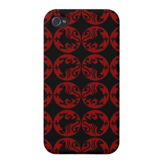 Gryphon Silhouette Pattern - Red and Black iPhone 4/4S Covers