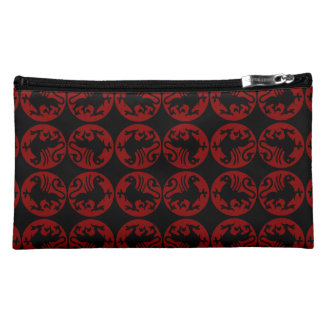 Gryphon Silhouette Pattern - Red and Black Makeup Bag