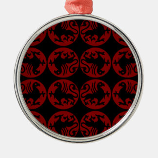 Gryphon Silhouette Pattern - Red and Black Metal Ornament
