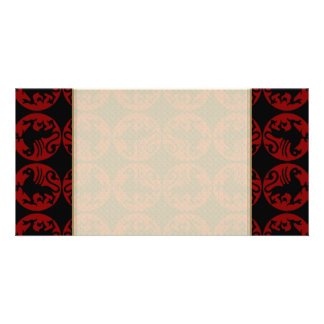 Gryphon Silhouette Pattern - Red and Black Photo Card