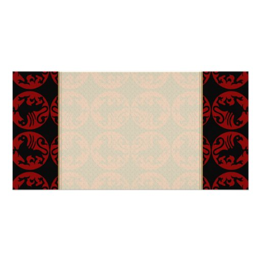 Gryphon Silhouette Pattern - Red and Black Picture Card