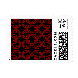 Gryphon Silhouette Pattern - Red and Black Postage