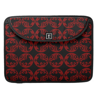 Gryphon Silhouette Pattern - Red and Black Sleeve For MacBooks