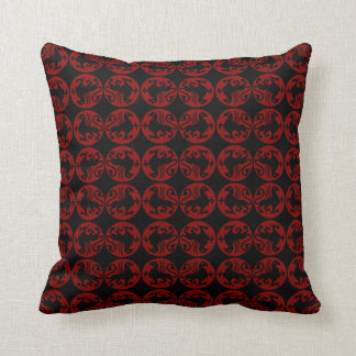 Gryphon Silhouette Pattern - Red and Black Throw Pillow