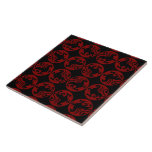 Gryphon Silhouette Pattern - Red and Black Ceramic Tile