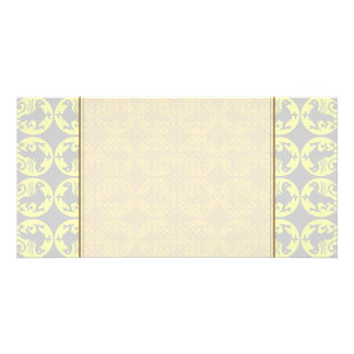 Gryphons Silhouette Pattern - Pale Yellow and Gray Card