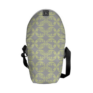 Gryphons Silhouette Pattern - Pale Yellow and Gray Courier Bag