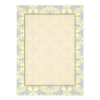 Gryphons Silhouette Pattern - Pale Yellow and Gray Personalized Announcements