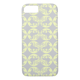 Gryphons Silhouette Pattern - Pale Yellow and Gray iPhone 7 Case