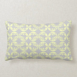 Gryphons Silhouette Pattern - Pale Yellow and Gray Lumbar Pillow