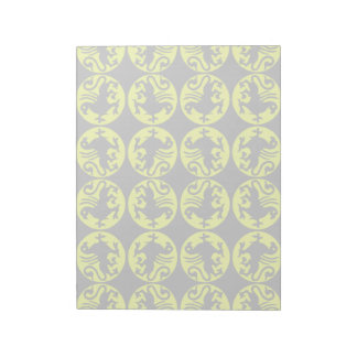 Gryphons Silhouette Pattern - Pale Yellow and Gray Notepad
