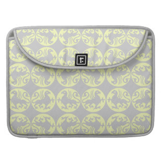 Gryphons Silhouette Pattern - Pale Yellow and Gray Sleeve For MacBooks