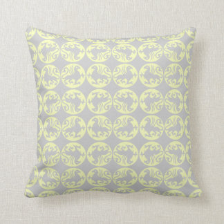 Gryphons Silhouette Pattern - Pale Yellow and Gray Throw Pillow