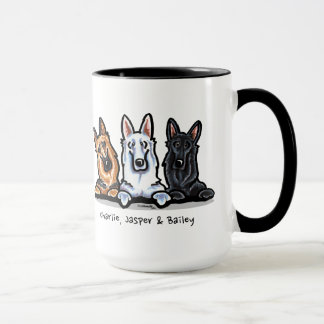 GSD Black White and Tan Personalized Mug