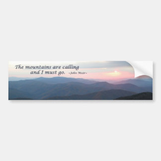 GSMNP Sunset: Mountains are calling/J Muir Car Bumper Sticker