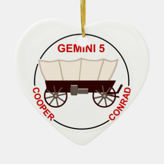 "GT 5:  ""Gordo"" Cooper and Pete Conrad Double-Sided Heart Ceramic Christmas Ornament"