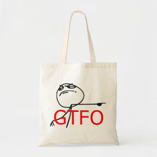 GTFO Get Out Guy Rage Face Comic Meme Canvas Bags
