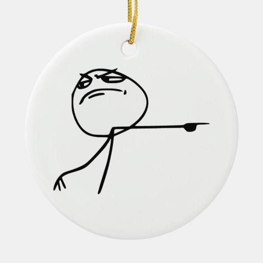 GTFO Get Out Guy Rage Face Comic Meme Ceramic Ornament